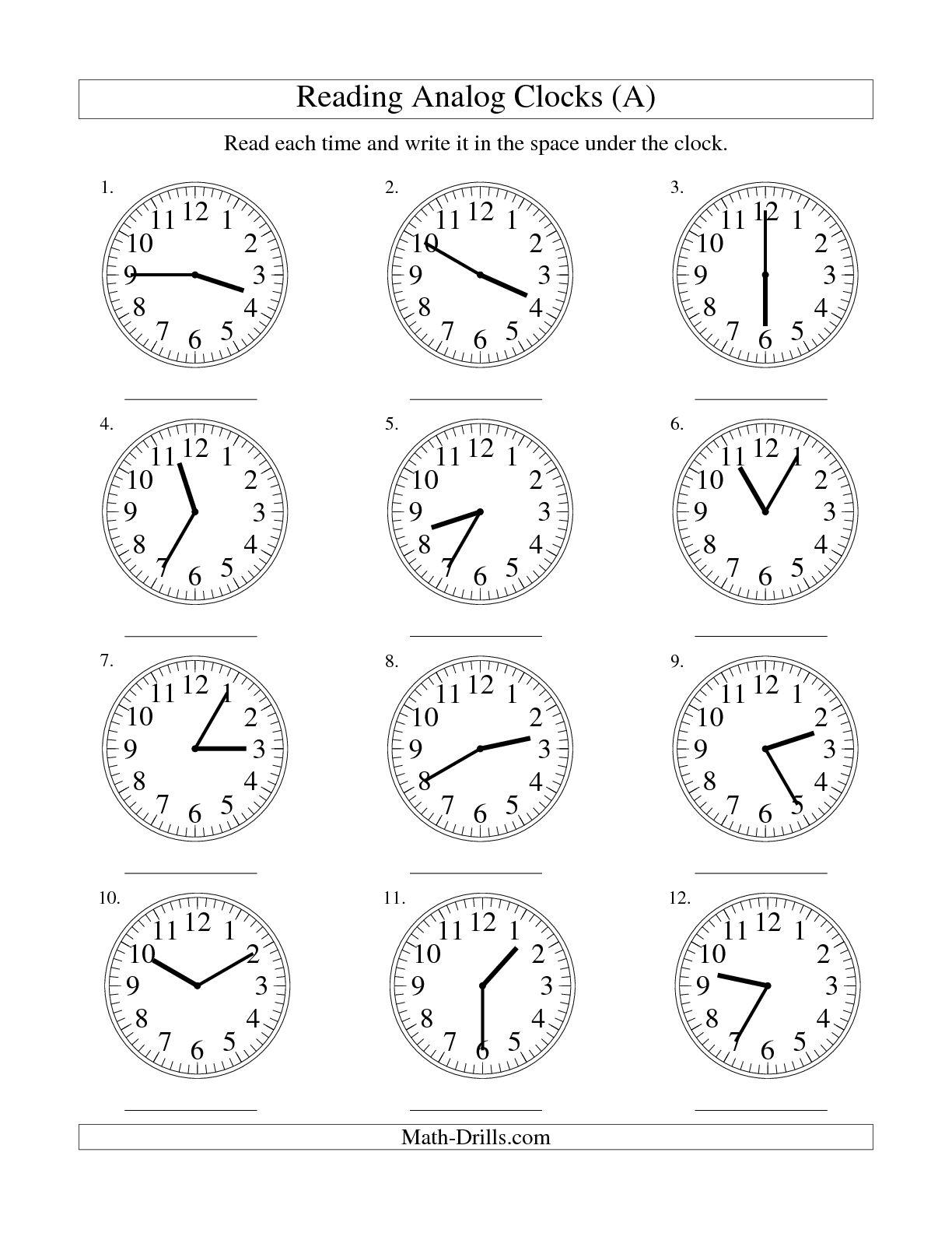 Analog Clock Practice Worksheets The Best Worksheets Image