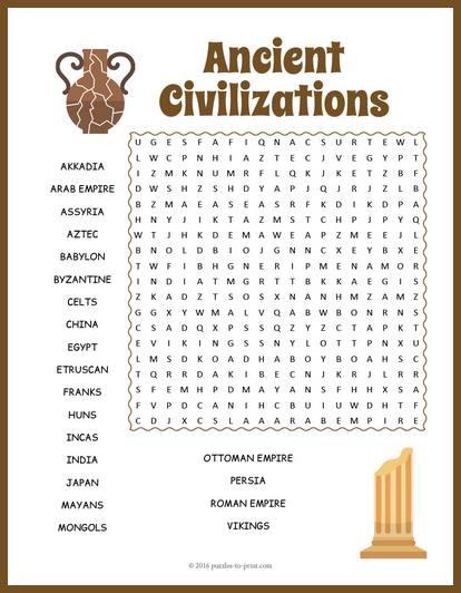 Ancient Civilizations Word Search Puzzle