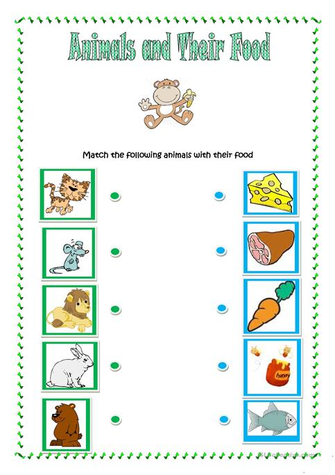 Animals And Their Food Worksheet