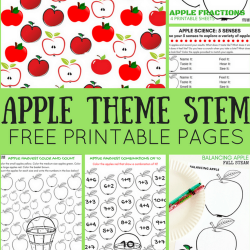 Apple Theme Worksheets And Apple Stem Activities {free Pages}