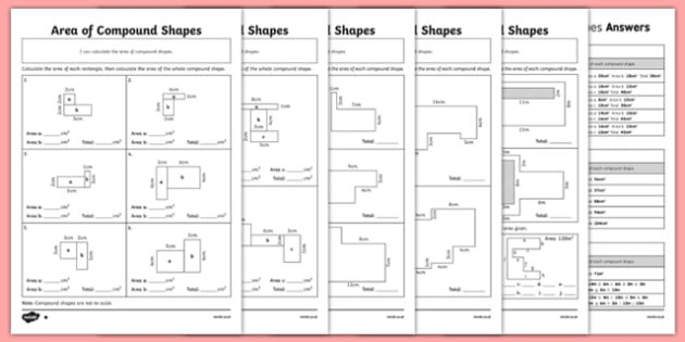 Area Of Compound Shapes Differentiated Worksheet   Activity