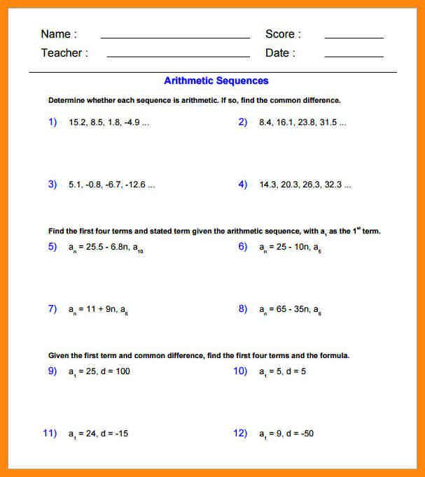 Arithmetic Sequences Worksheet Worksheets For All