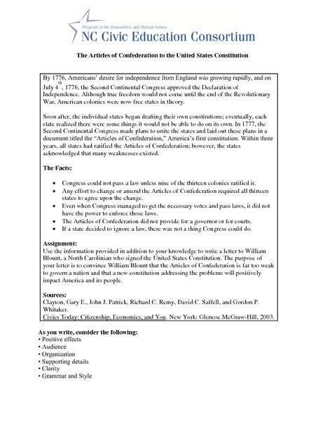 Articles Of Confederation Worksheet Worksheets For All