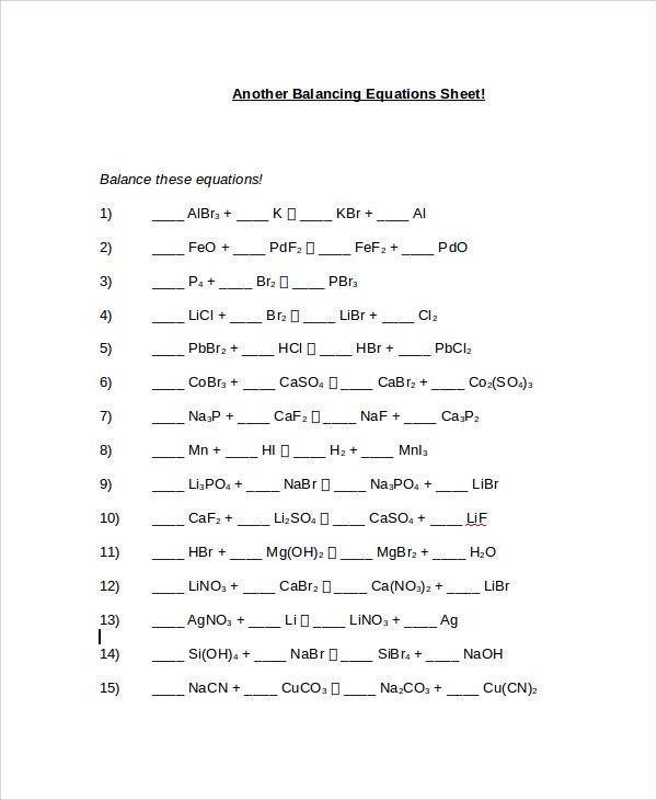 Balancing Equations Worksheet Balancing Chemical Equations