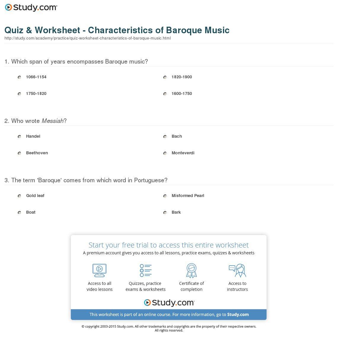 Baroque Music Worksheet