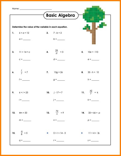 Basic Algebra Worksheets Free