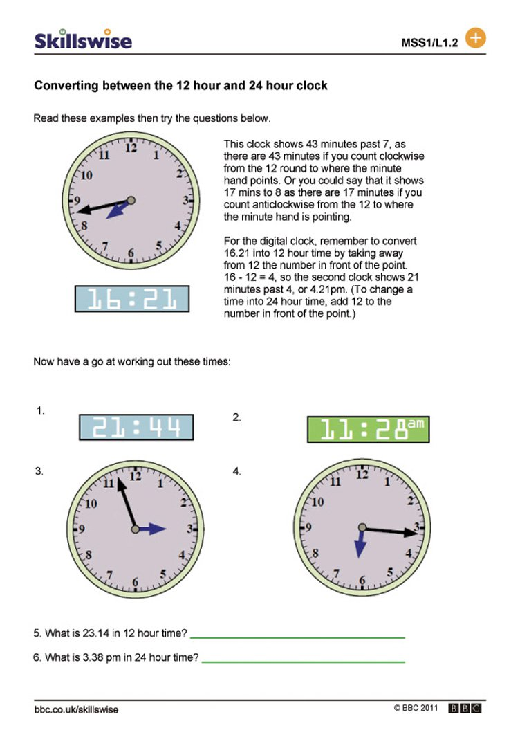 Best Solutions Of 12 Hour And 24 Hour Clock Worksheets In Resume