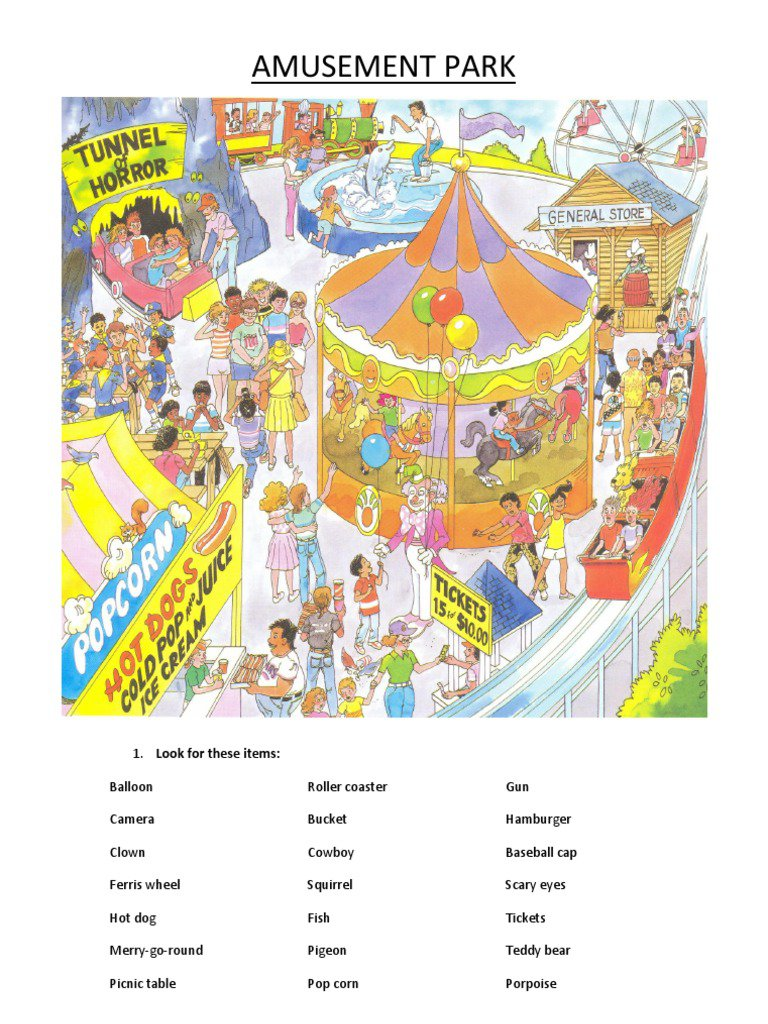 Best Solutions Of Amusement Park Worksheets With Additional Layout