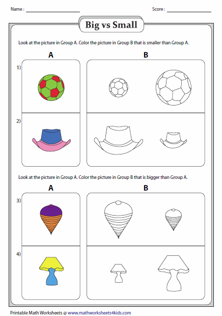 Big And Little Worksheets For Preschool Big And Small Worksheets