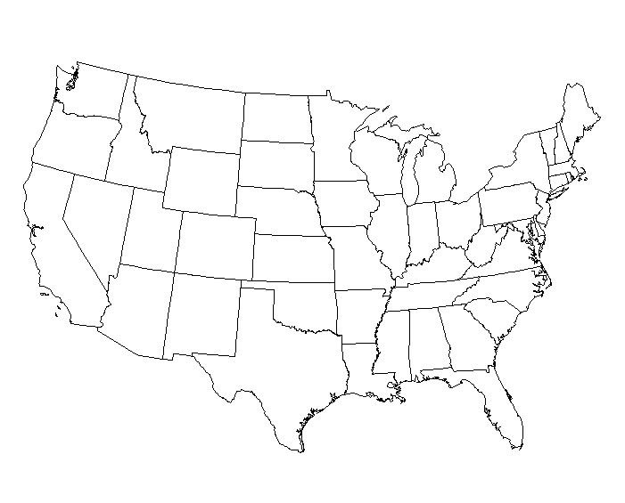 Blackline Us Map With States Us Map States Worksheet State Name