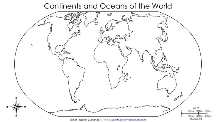 Blank Continent Map Worksheet Worksheets For All