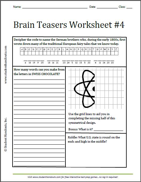 Brain Teaser Worksheets For Middle School Students