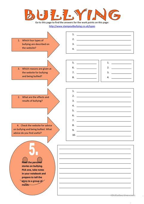 Bullying Worksheets Bullying Worksheet Free Esl Printable