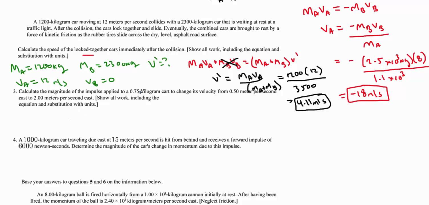Calculating Momentum Worksheet The Best Worksheets Image