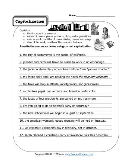 Capitalization Worksheets 4th Grade Worksheets For All
