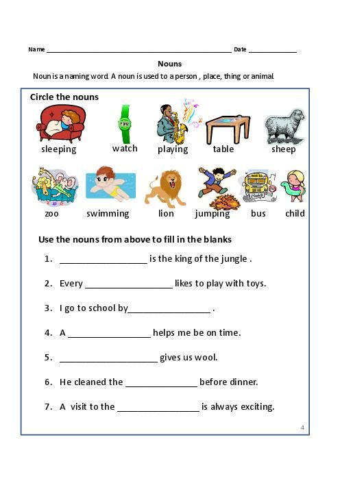 Captivating Nouns Worksheets For First Graders About Noun