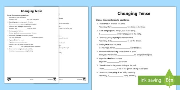 Changing Tense Worksheets