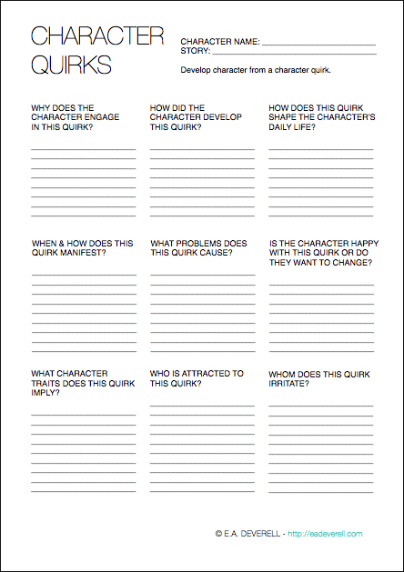 Character Quirks (writing Worksheet Wednesday)