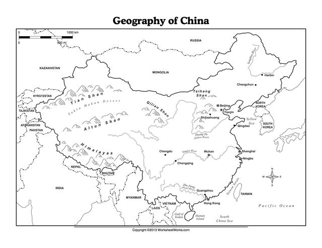 China Culture Map Geography Worksheets And China T