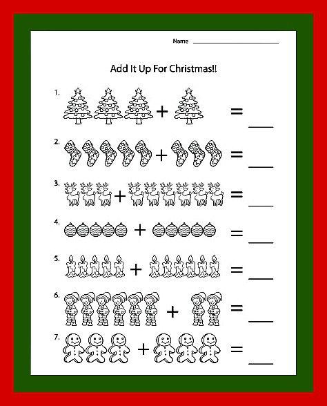 Christmas Addition Worksheets Kindergarten Worksheets For All