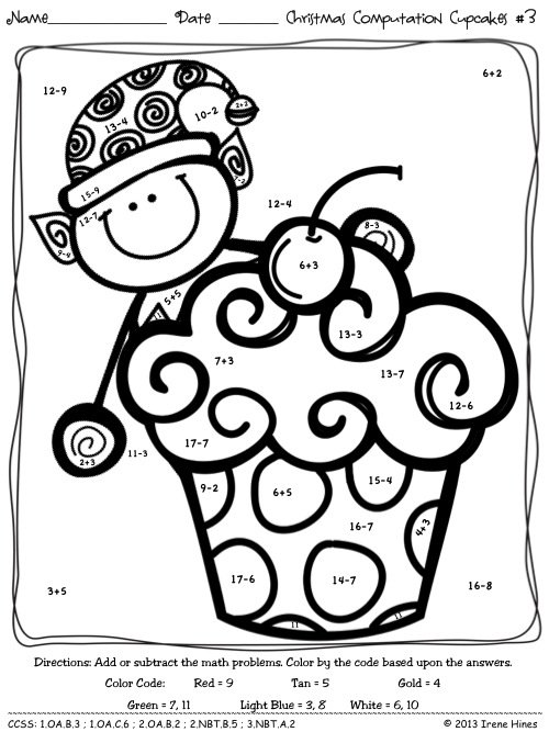 Christmas Math Coloring Pages 3rd Grade Copy Worksheets 20
