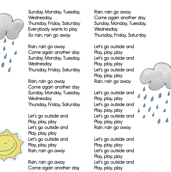 Classroom Classics  Rain Rain Go Away  Lyric Sheet