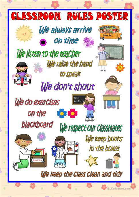 Classroom Rules Poster Worksheet