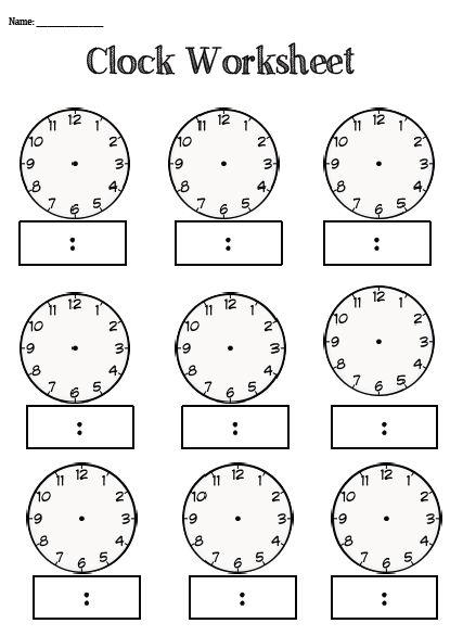 Clock Worksheets Blank