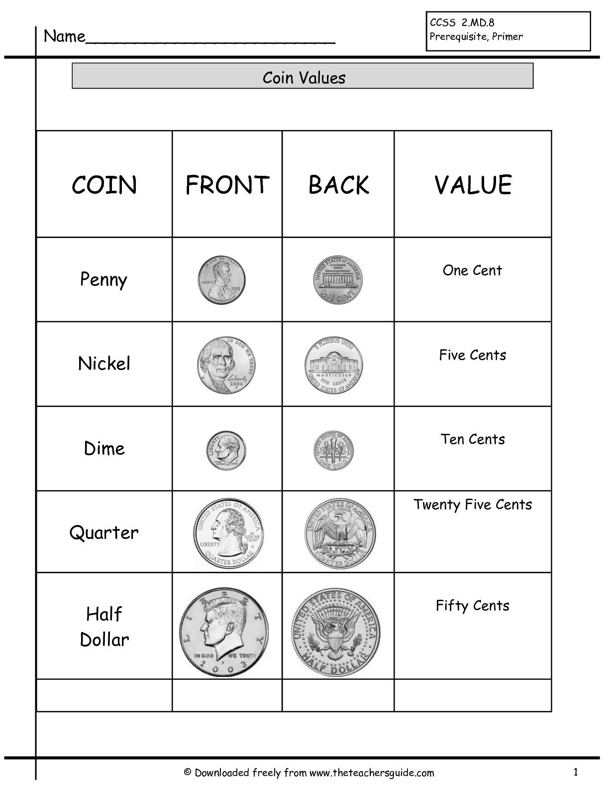 Coins And Values Worksheets The Best Worksheets Image Collection