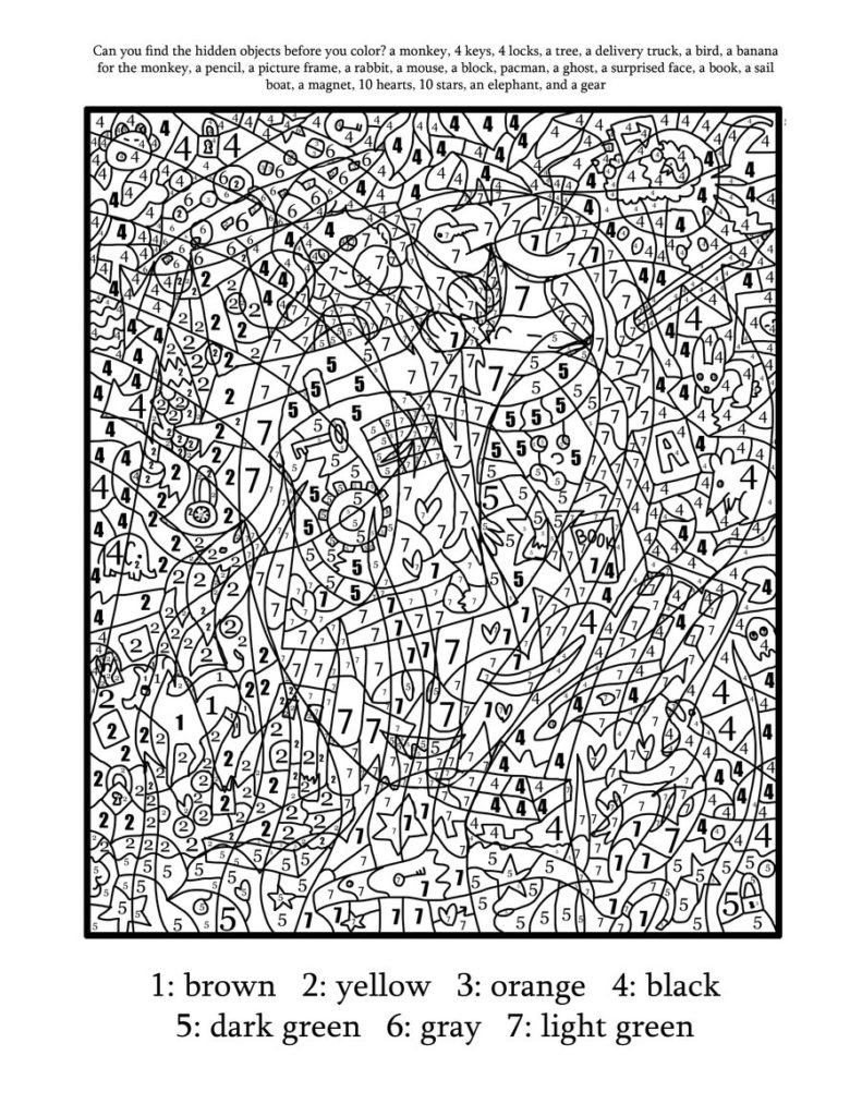 Coloring Art Number Worksheets For Adults