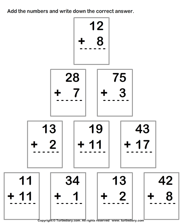 Adding Two Digit Numbers Worksheets