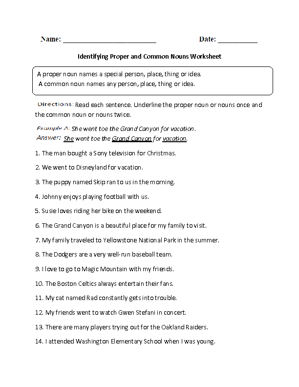 Common And Proper Nouns Worksheets Choose Common And Proper Nouns
