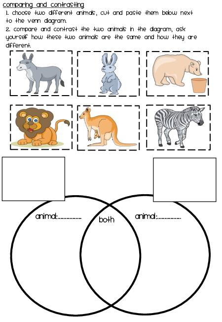 Comparing And Contrasting Printable Cut And Paste Animals