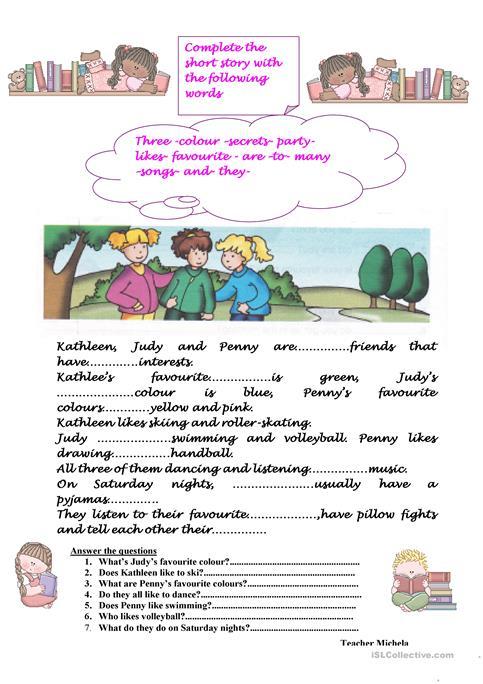 Complete The Short Story Worksheet