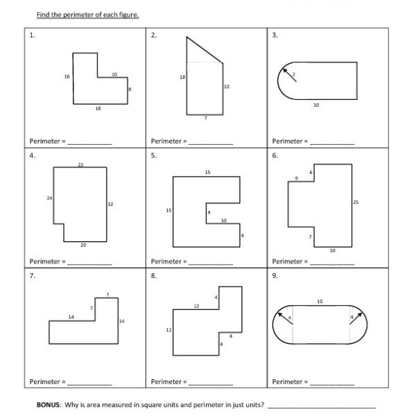 Compound Area Worksheet