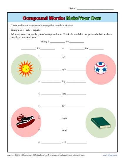 Compound Words Worksheet Activity  Make Your Own