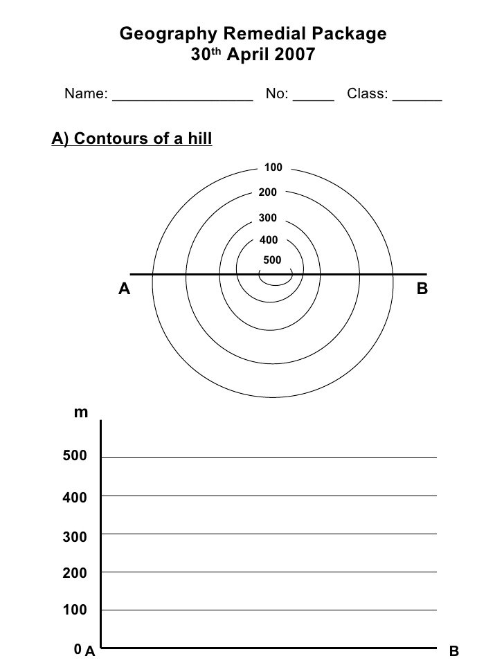 Contour Lines Worksheet Year 7