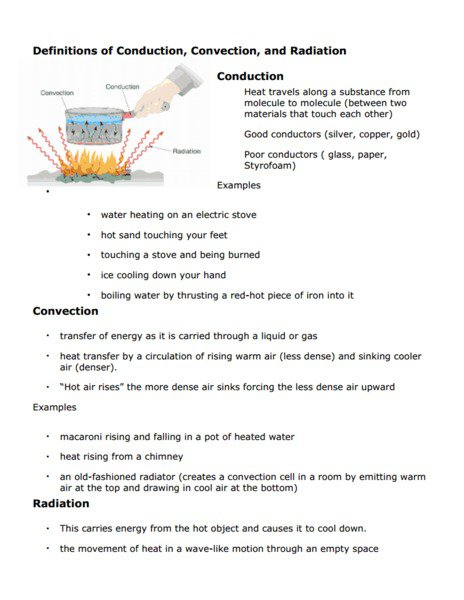Convection Conduction Radiation Worksheet