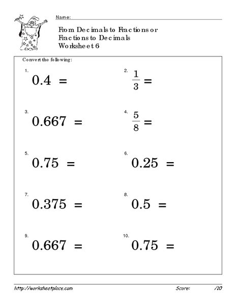 Converting Fractions To Decimals Worksheets 6th Grade