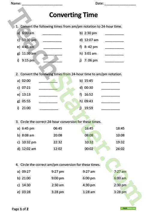 Converting Time Worksheet Teaching Resource – Teach Starter