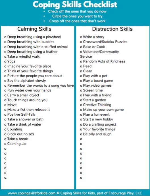Coping Skills Activities Pdf