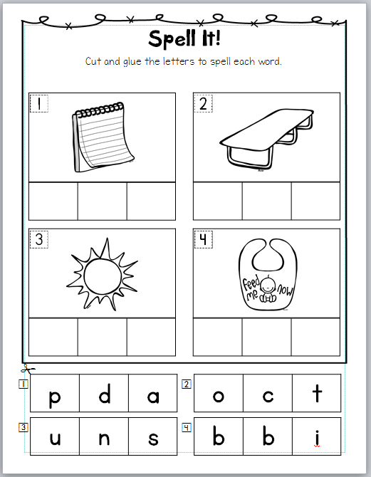 Cosy Cut And Paste Phonics Worksheets For First Grade For