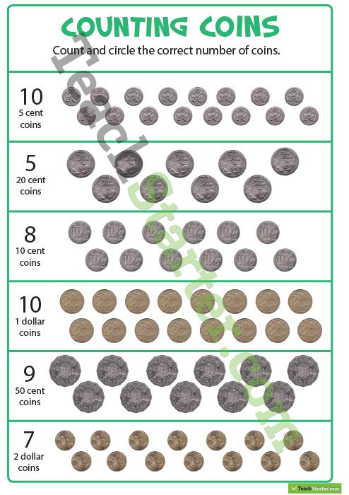 Counting Coins Worksheet Teaching Resource – Teach Starter
