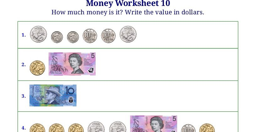 Counting Money Worksheets Australia