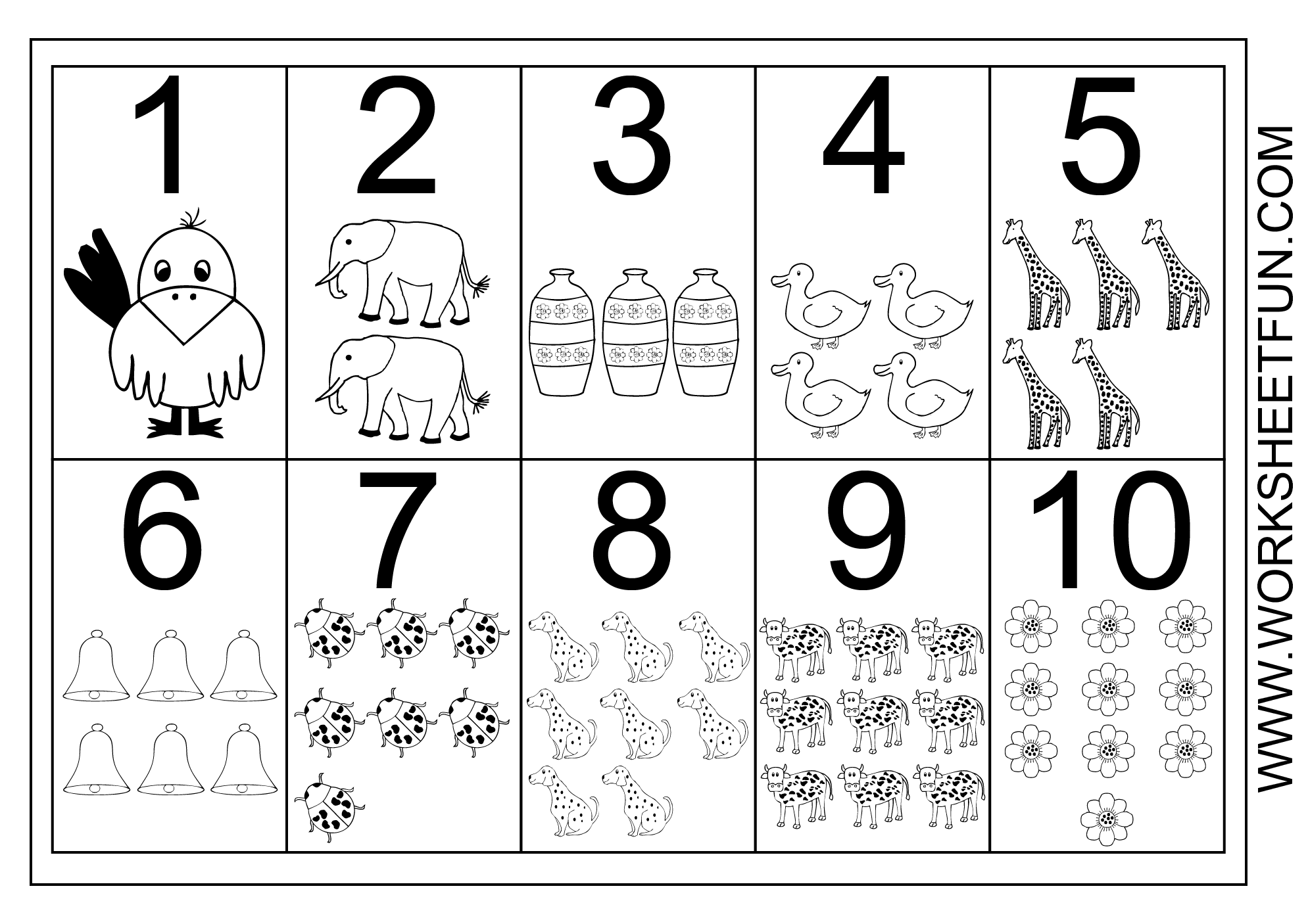 Counting Numbers 1 To 10 Worksheet