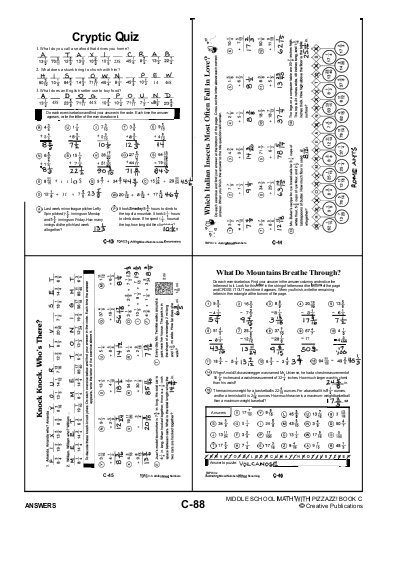 Cryptic Quiz Math Worksheet Answers Answers Cryptic Quiz 1 W Ideas