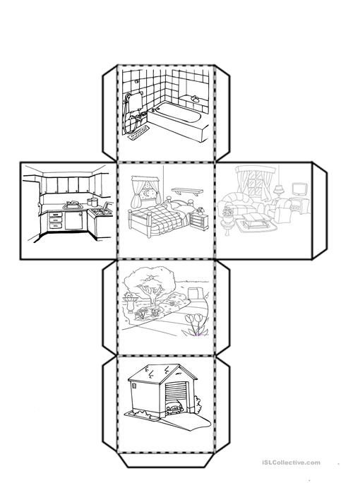 Cube With The Parts Of The House Worksheet
