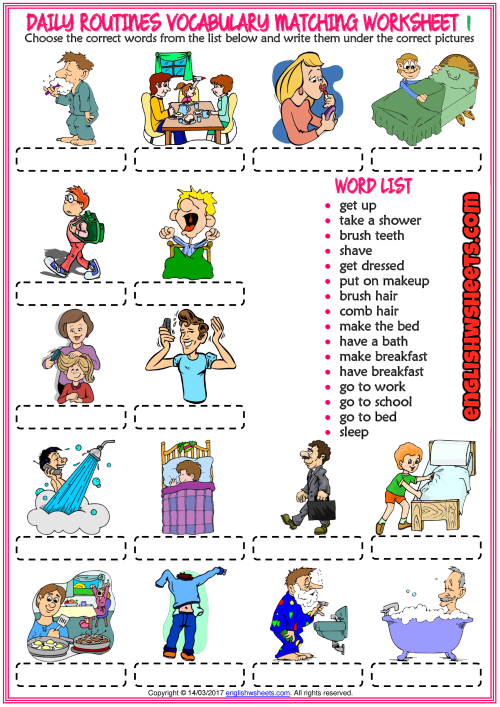 Daily Routines Vocabulary Matching Exercise Worksheets