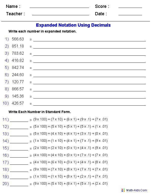 Decimal Place Value Math Worksheets The Best Worksheets Image