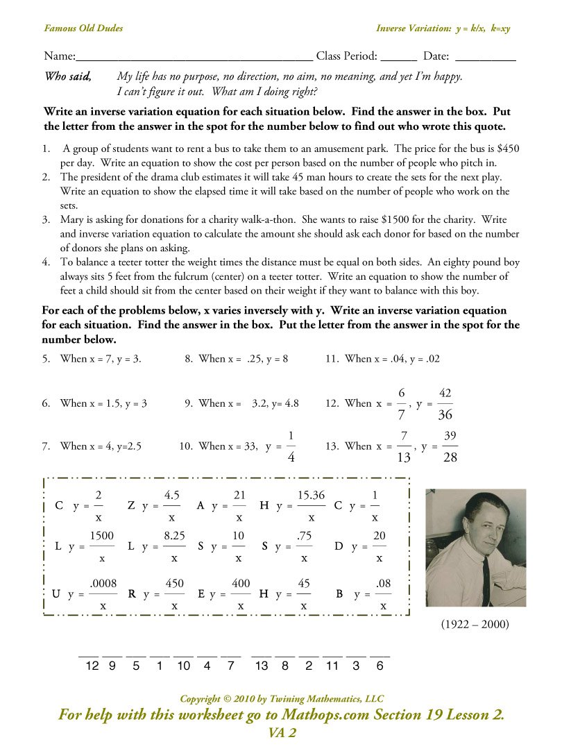 Direct Joint And Inverse Variation Worksheet The Best Worksheets